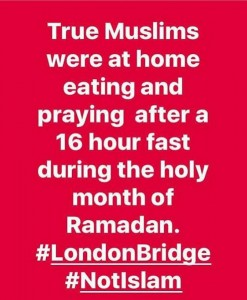 The meme is shared by many across the globe, stating that the London bridge attack has nothing to do with Islam.