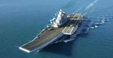 India's lone carrier Vikramaditya taking part in the naval drill with US and Japan.