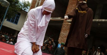 Public whipping in Banda Acheh, Indonesia