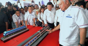 Prime Minister Datuk Seri Najib Razak at the ECRL groundbreaking ceremony on Wednesday
