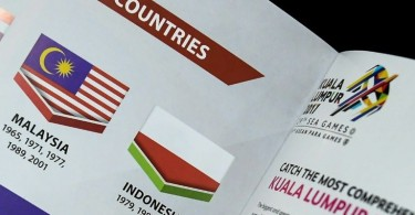 The upside-down image of the Indonesian flag in a special souvenir book for the ongoing SEA Games.