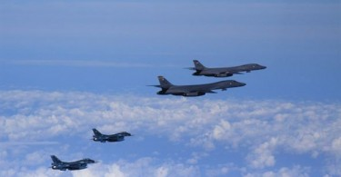 The exercise around Japan's southern Kyushu island involved two U.S. Air Force B-1B Lancer bombers and two Japanese F-2 jet fighters.