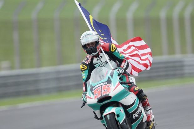 Third on the podium for Hafizh from a start of 14th on the grid.