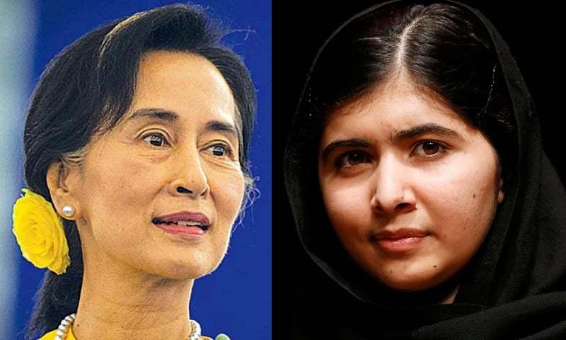 Nobel Peace Prize laureates Aung San Suu Kyi  and Malala Yousafzai