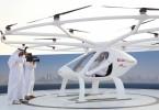Dubai Crown Prince Sheikh Hamdan is seen inside the flying taxi.