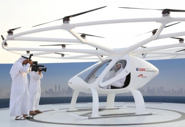 Dubai Crown Prince Sheikh Hamdan is seen inside the flying taxi.