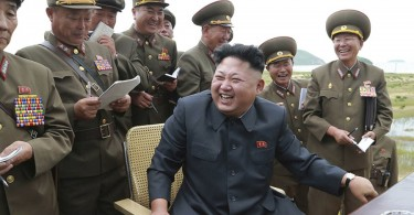 North Korean leader Kim Jong Un sharing a light moment with his generals.