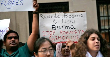 A protest in New York calling for an end to the Rohingya crisis.