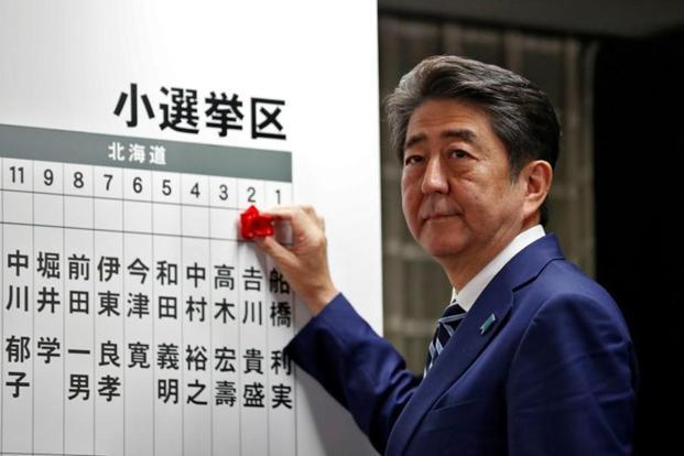 Japan's Prime Minister Shinzo Abe, leader of the Liberal Democratic Party, looks on as he puts a rosette on the name of his party candidates who won in the election.