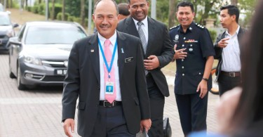 Yusof leaving the police station.