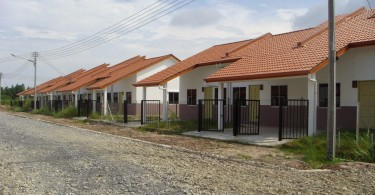 A typical design of low cost houses in Malaysia.