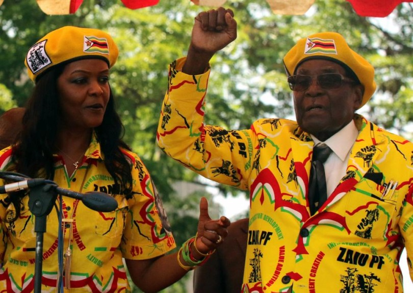 President Robert Mugabe , 93 and his wife Grace Mugabe, 52 at a rally of his ruling ZANU-PF party in Harare on Nov 8.
