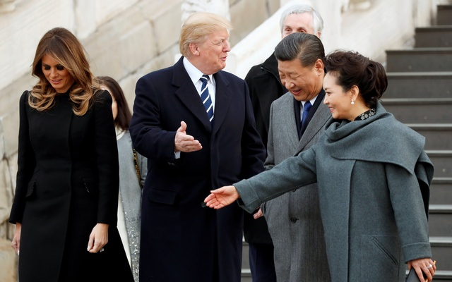 US President Donald Trump and First Lady Melania visit the Forbidden City with China's President Xi Jinping and First Lady Peng Liyuan in Beijing, China on Wednesday.