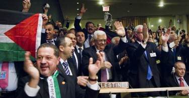 The Palestinian delegation at the UN General Assembly.