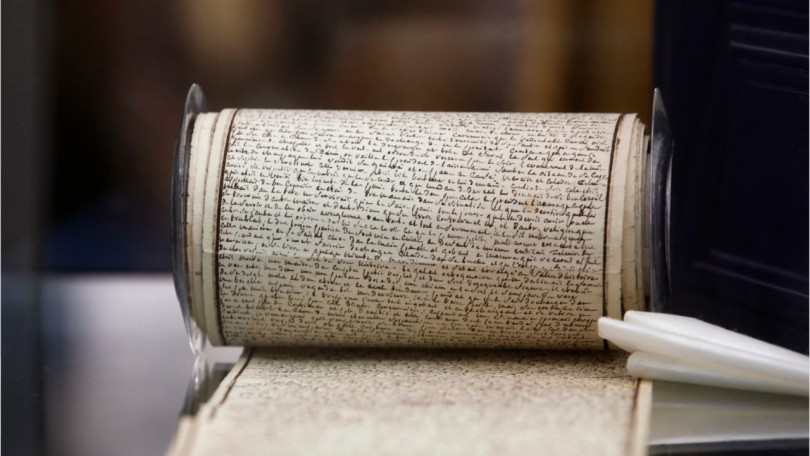 De Sade's 1785 work was written in tiny script on 33 pieces of scroll while he was imprisoned in the Bastille.