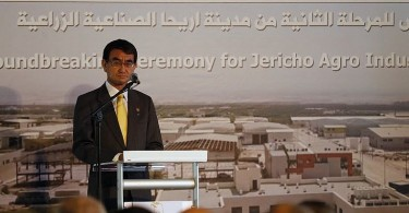 Japanese Foreign Minister Taro Kono gives a speech during the unveiling of the second phase of the Jericho Agro Industrial park in the West Bank city of Jericho yesterday.