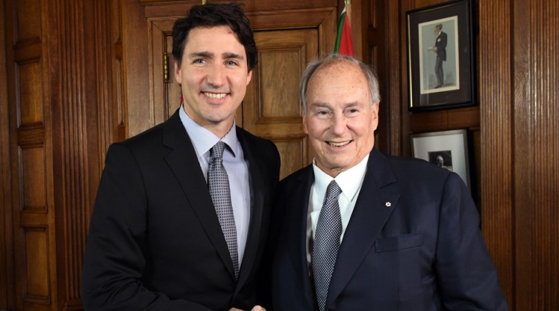 Trudeau (left) and the Aga Khan pictured in 2016.