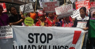 Members of the Lumad community protesting the abuses they suffered under Philippines' martial law in Mindanao