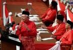 Umno president Datuk Seri Najib Abdul Razak delivers his speech at the Umno general assembly, on Dec 7, 2017.