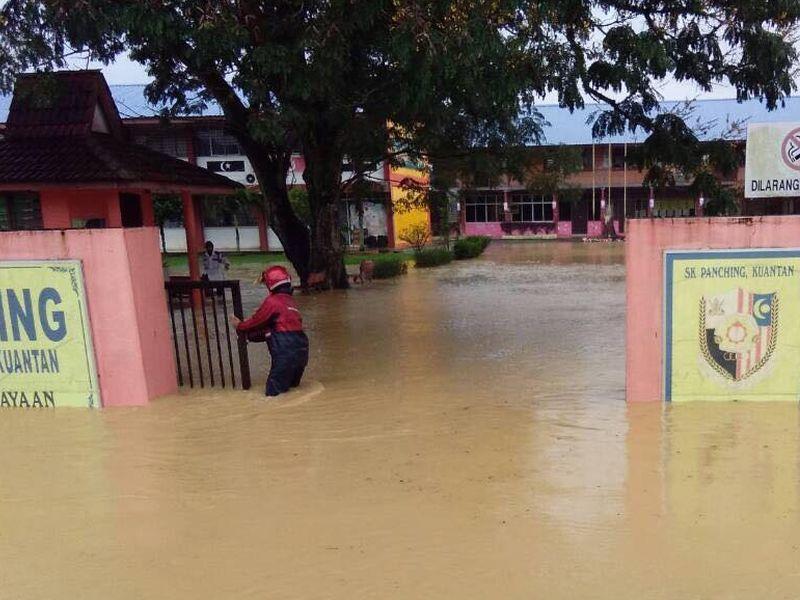 A flood-hit school in Kuantan yesterday.