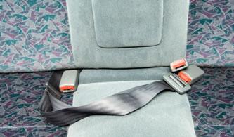 A 2-point lap seatbelt.