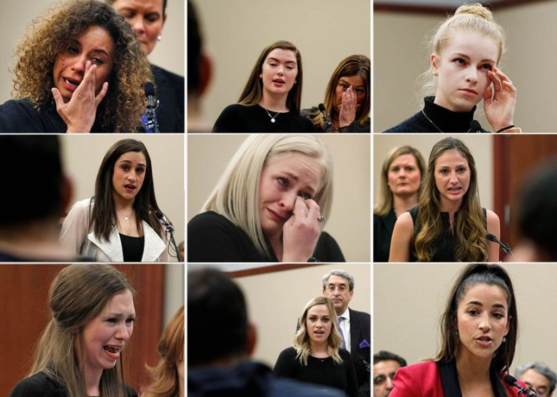Some of the many Nassar victims who testified against him.