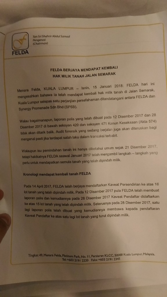 A picture of Felda's January 15 press statement.