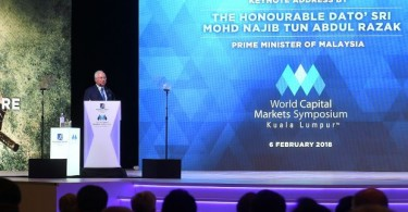 Datuk Seri Najib Razak delivering his keynote address at the World Capital Markets Symposium  2018.