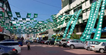 PAS's flag, arranged in a creative manner around Kota Bharu city