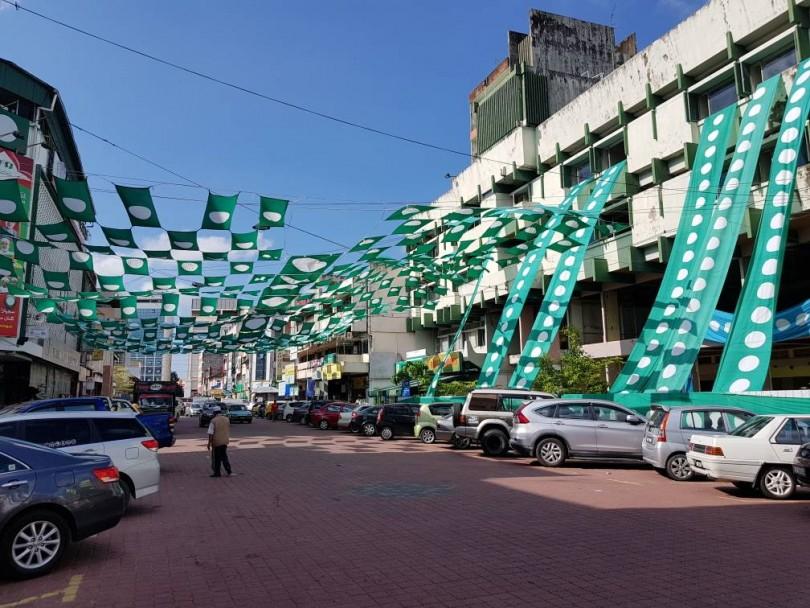 PAS's flag, arranged in a creative manner around Kota Bharu city