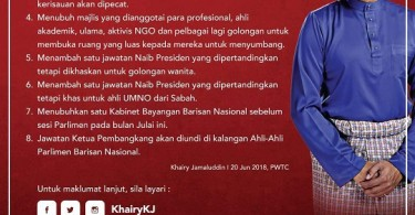 KJ's manifesto for UMNO party election 2018. He is vying for the presidential post