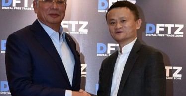 Datuk Seri Najib Razak and Alibaba Group founder and executive chairman Jack Ma after the launching of the country's Digital-Free Trade Zone in Kuala Lumpur on March 22, last year.
