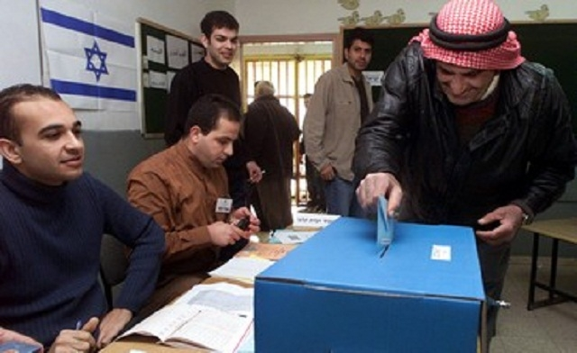An Israeli Arab voting during the election in March, 2015.