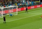 England's Eric Dier scores the winning penalty during the shootout against Colombia.