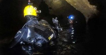 Rescuers at work inside the caves.