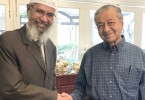 Zakir Naik and Tun Dr Mahathir Mohamad during a meeting after Pakatan Harapan's victory in the  May 9 polls.