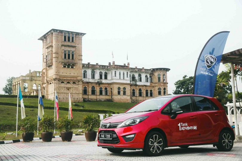 Proton Iriz parked in front of Kellie's castle, one of the checkpoints in the northern leg of Proton 1-tank adventure