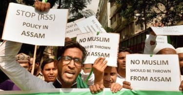 Activists of AIMIM (All India Majlish-e-Ettehad ul Muslimin) raise slogans during a protest against Assam's controversial National Register Citizen(NRC) draft, in Kolkata on Aug 10, 2018