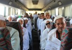 Malaysian pilgrims onboard  a bus on their way to perform haj rituals - File picture