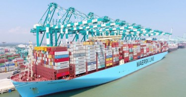 Mumbai Maersk at the Port of Tanjung Pelepas.