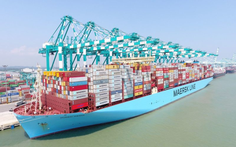 Mumbai Maersk at the Port of Tanjung Pelepas.