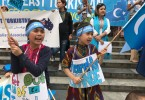 Uighurs children in exile at a protest in Australia against the alleged detention of  up to a million people in Xinjiang, China.