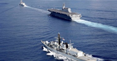 British frigate HMS Argyle (front), Japanese helicopter carrier Kaga (C) and destroyer Inazuma heading to South China Sea from the Indian Ocean.