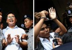 Reuters journalists Wa Lone (L) and Kyaw Soe Oo depart Insein court after the verdict.