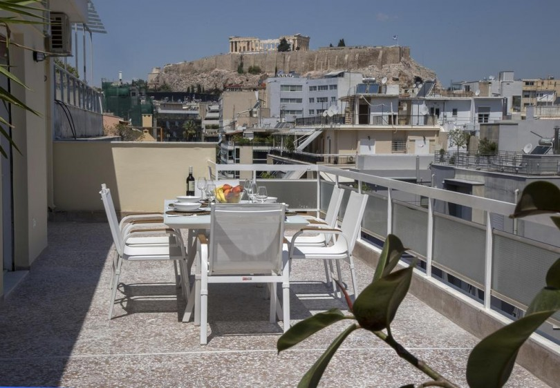 An apartment overlooking Acropolis Hill.