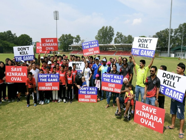 Close to 40 people from the cricket fraternity showed up at the Kinrara Oval in Puchong to protest against the developer's intention to develop the land. - Oct 6 2018