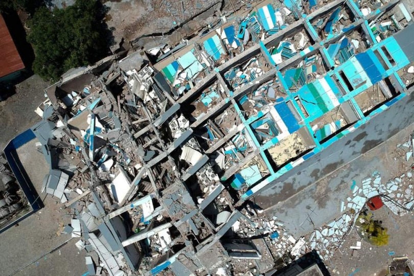 What remains of the eight-storey Roa-Roa Hotel in Palu.