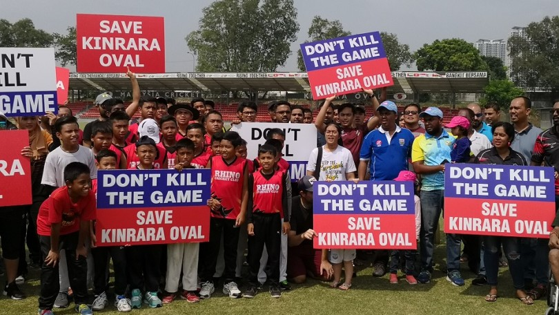 Malaysian cricket players and fans recently attended a rally against the closure of Kinrara Oval, which is the country's cricket home.
