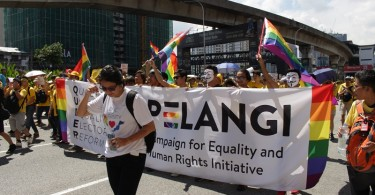 LGBT activists taking part in a Bersih rally in Kuala Lumpur