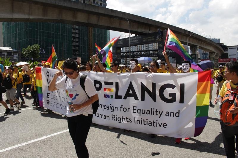 LGBT activists taking part in a Bersih rally in Kuala Lumpur